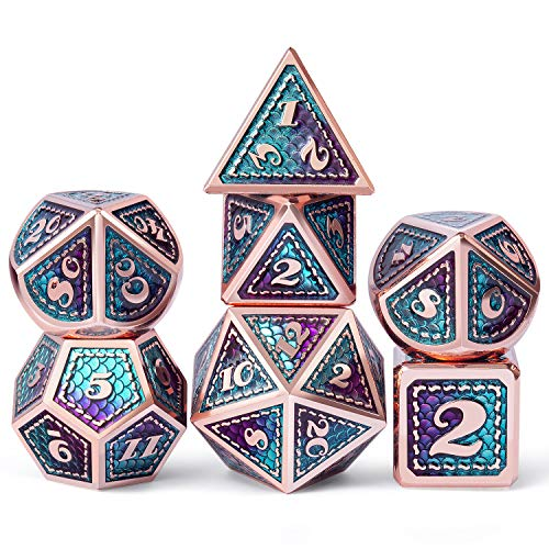 DNDND Metal D&D Dice Set,7 Pieces Dragon Scale Metallic D&D Die with Velvet Pouch for Dungeons & Dragon Game (Teal and Purple with Copper Edge)