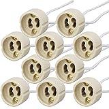 PACK Portalámparas casquillos GU10 para bombillas halogenas hasta 100W y bombilla led, zócalo de cerámica con cable de silicona 150mm de alta resistencia. Socket Lamp Holder Silicon Wire (10)