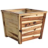 Villa Acacia Outdoor Patio Planter, Square 17 x 17 Inch Large Box for Deck, Porch and Yard