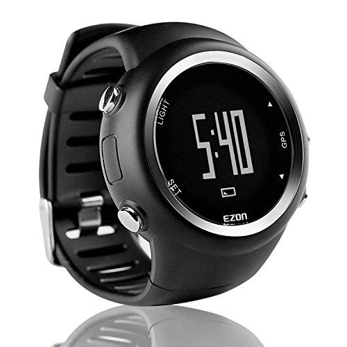 EZON T031A01 Reloj de los Deportes del GPS de los Hombres Reloj al Aire Libre Que Corre el Reloj de Digitaces con el Contador de la caloría, recordatorio del Paso, Alarma y cronómetro(Negro)