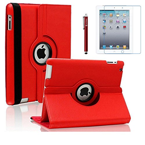 AiSMei Case for iPad 4 (2012), Rotating Stand Case Cover for 9.7 Apple iPad A1395, A1396, A1397, A1403, A1416, A1430, A1458, A1459, A1460, Bonus Stylus Film, Red