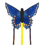 Invento 100308–Aquilone a Farfalla con Coda di Rondine, Misura R Bambini Drago Aquilone monofilo, a Partire da 5Anni, 34x 52cm e 2x 3m Drago Coda Poliestere Ripstop 2–4Beaufort, Blu