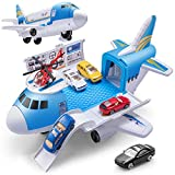 Geyiie Airplane Toys, Aircraft Car Set Toys with 5pcs Vehicle Car and 1pcs Helicopter, Transport Cargo Airplane with Parking Scene, Toys Gift for Boys Car Set for 3+ Toddlers