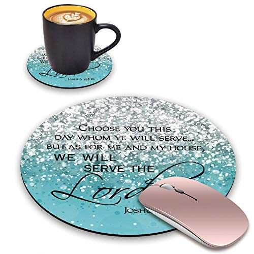 BWOOLL Round Mouse Pad and Coasters Set, Blue Glitter Mousepad, Inspirational Quote Christian Bible Verses Joshua 24:15 Mousepad, Non-Slip Rubber Base Mouse Pads for Laptop and Computer