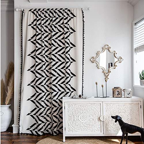 "JAIJY French Country Chic Geometric Stripe Semi Blackout Window Curtain Panel with Black Tassels, Bohemian Farmhouse Rod Pocket Drape, 1 Panel, 59""x86"""