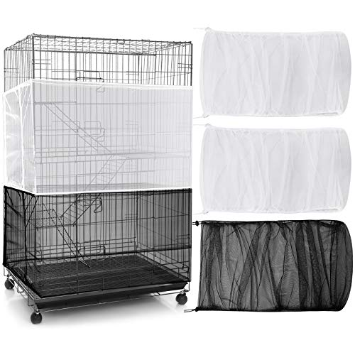 3 Pieces Adjustable Bird Cage Cover Seed Feather Catcher Universal Birdcage Nylon Mesh Net Cover Soft Airy Skirt Guard for Parrot Parakeet Macaw Lovebird African Grey Round Square Cages