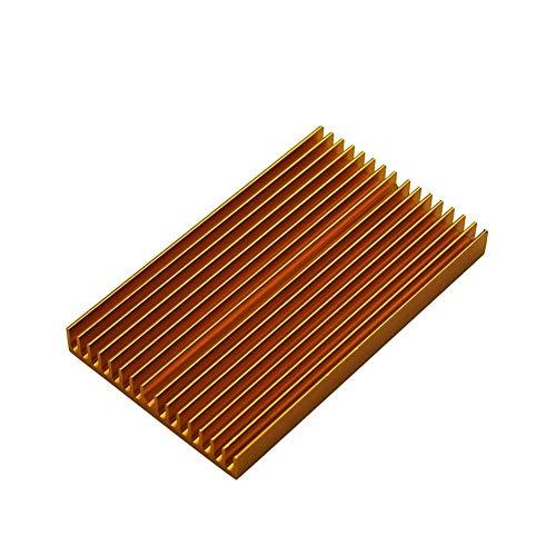 Apricot blossom 100 * 60 * 10mm DIY Cooler Aluminum Heatsink Shape Radiator Grille Chip Fit For IC LED Power Transistor Sparkmaker SLA 3d Printer Parts (Size : Gold color)