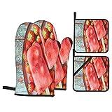 Guante de Horno de 4 Piezas y agarradera,Paletas de Fresa caseras,Guantes Aptos para Alimentos Antideslizantes Impermeables y Resistentes al Calor para microondas cocinar y Hornear en la Cocina