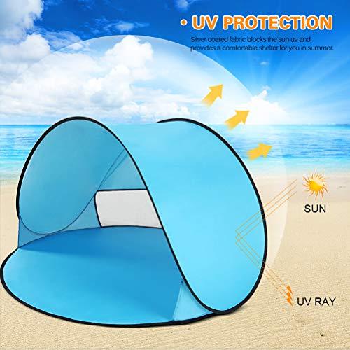 Asolym Tienda de Sombra Solar Instantánea Tienda de Campaña de Playa Emergente 2 Personas Pop Up Sun Shelter Portátil Automático Niños Jugando Sun Shelter para Camping Pesca Senderismo,Azul