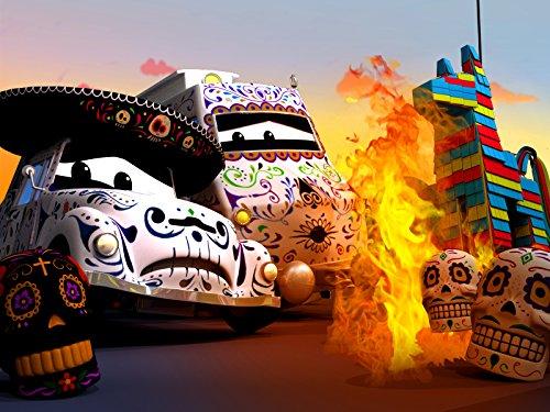 Dia de los muertos Die Pinata fängt Feuer am Tag der Toten / Chuck das Hebebühnenfahrzeug verwandelt sich in ein Gespenst !