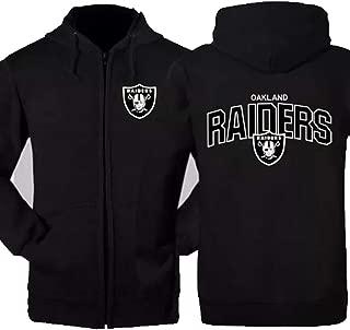 ZHEN Oakland Raiders Men's Clothing NFL American Football Hoodie Casual Sweatshirt Autumn,Black,XXXXL