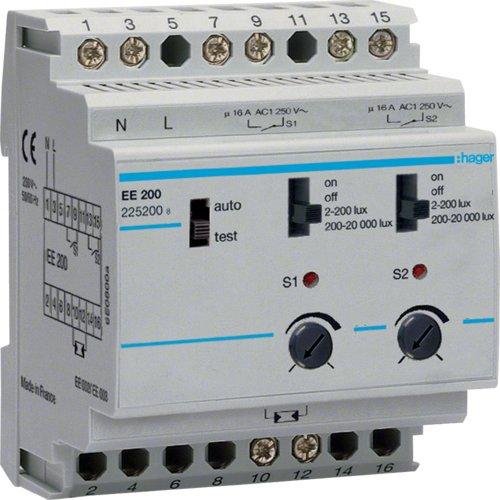 Hager EE200 - Interruptor crepuscular 2 Canales sin celula
