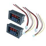 Diymore - Amperometro digitale, voltmetro misuratore amperaggio, multimetro 2 in 1, display LED doppio colore rosso e blu, DC 100 V, 10 A, 2 pezzi