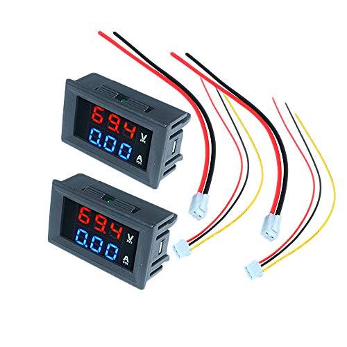 diymore 2PCS DC 100V 10A LED Amperímetro Digital Voltímetro Azul Rojo Pantalla de Doble Color Voltímetro Medidor de amperaje multímetro 2 en 1