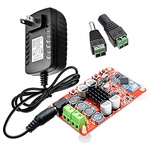 Aideepen TDA7492P 50W+50W Audio Power Bluetooth Amplifier Board Dual Channel Wireless Digital Stereo Receiver AMP Board with 5.5x2.1mm 12V 2A AC Adapter and 1pair Male Female Jack Connector