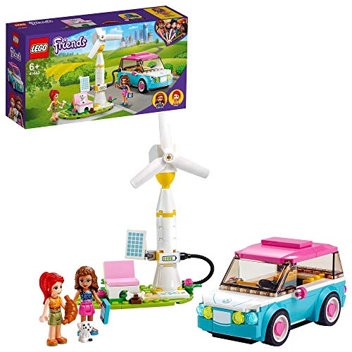 LEGO 41443 Friends Olivia's Electric Car Toy, Eco Education Playset for Kids 6+