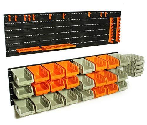 VVIViD Heavy-Duty Plastic Wall-Mounted DIY Storage Bin and Tool Organizer Board Set