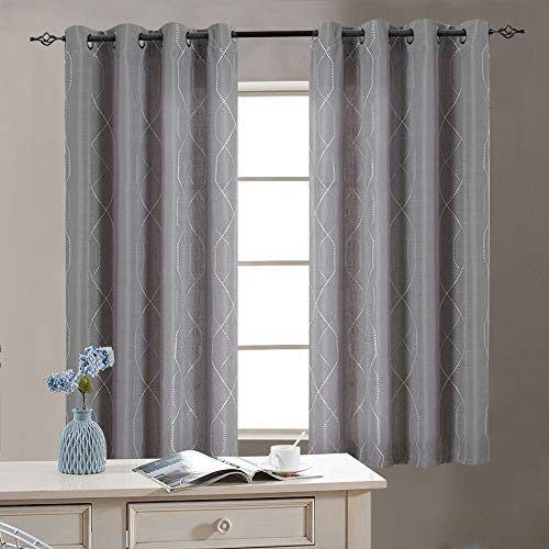 """Sheer Embroidered Curtains for Living Room Grommet Top Embroidery Curtains for Bedroom 63"""" L Grey"""