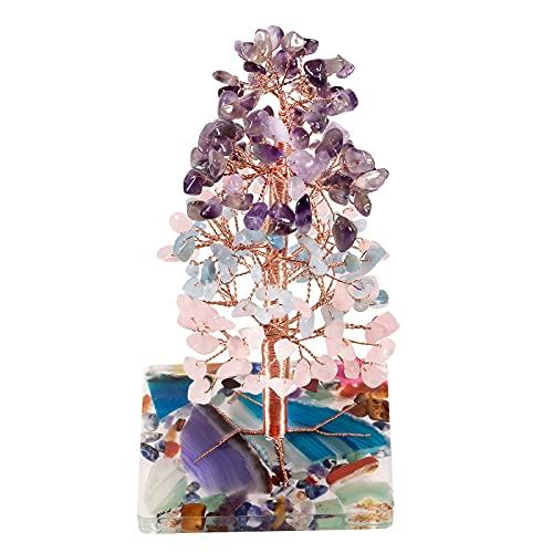 Amogeeli Árbol de dinero de cristal curativo con base de ágata de resina, árbol de la suerte Feng Shui piedra Bonsai figuras de oficina decoración del hogar