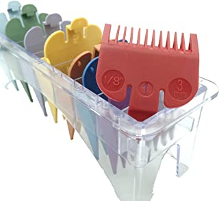 """Professional Hair Clipper Guards Guides 8 Color Coded Cutting Guides #3170-400- 1/8"""" to 1 fits for all Wahl Clippers(Multi Color)"""
