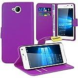 Microsoft Lumia 650 Handy Tasche, FoneExpert® Wallet Hülle Flip Cover Hüllen Etui Ledertasche Lederhülle Premium Schutzhülle für Microsoft Lumia 650 (Lila)