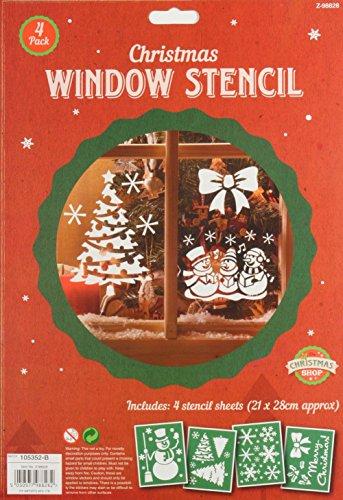 ITP 1x Unidades 4de plástico Ventana de Navidad Plantillas para hogar en Spray Nieve Reutilizable.