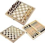 MWKLW Staunton Chess 3 en 1 Juego de ajedrez Plegable - Juego de Tablero de ajedrez de Madera Plegable Juegos de Viaje Ajedrez Backgammon Damas Piezas de ajedrez de Juguete