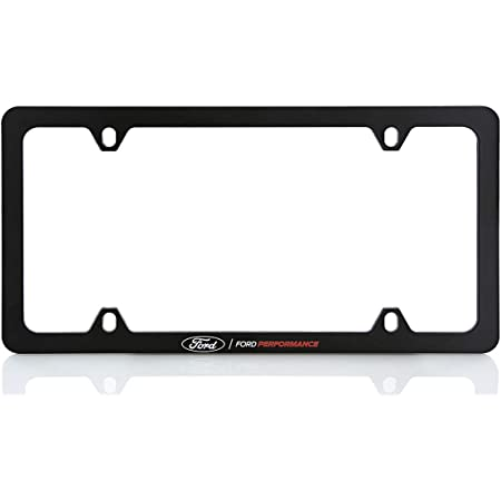 SILVER For FORD FOCUS F150 F250 ST RS MUSTANG BRONCO Car New License Plate Frame Cover Hard Waterproof Weatherproof Durable Plate Holder With Screw Caps Premium Metal 4 Holes ZENCO PACK OF 1