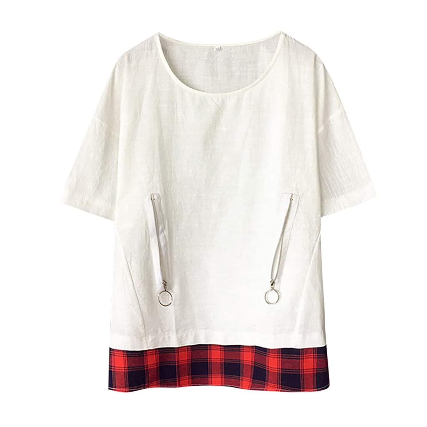 NRUTUP Men's Baggy Cotton Linen SOID Color Short Sleeve Retro T Shirts Tops Blouse