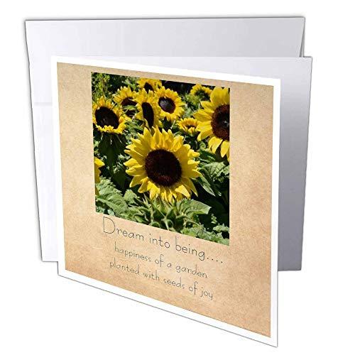 3D Rose GC 28022-1 Vintage Zonnebloem Zaden van vreugde - wenskaarten, 15,2 x 15,2 cm Set van 6