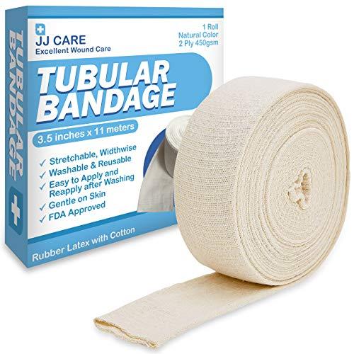 """JJ CARE Elastic Tubular Bandage 3.5"""" x 12 Yards [Premium] Cotton Stockinette Size E, Tubular Stockinette for Legs and Knees, 2 Ply Cotton Elastic Bandage Wrap, Tubular Compression Bandage by JJ CARE"""