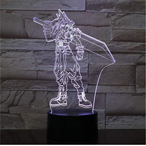 Illusion Nachtlicht 3D Usb Led Cloud Strife Figur Dekoration Jungen Kind Kinder Baby Geschenke Spiel Final Fantasy 7 Tischlampe Nachttisch Neon