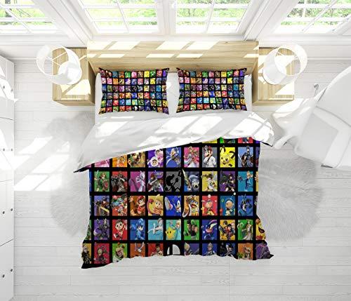 Super Mario Bros Bedding 3 Piece Duvet Cover Set California King Size Bedding Set for Men, Women, Boys and Girls