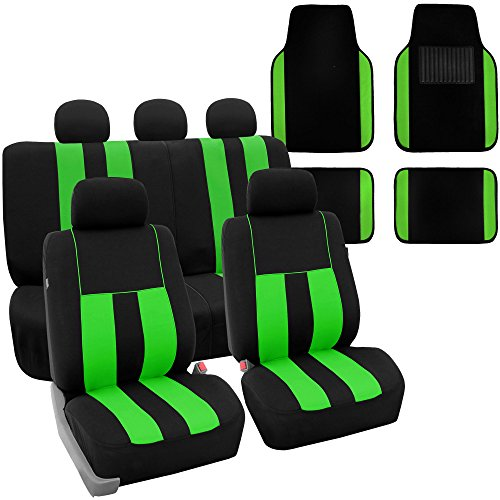FH Group FB036115 + F14407 Striking Striped Seat Covers (Green) Full Set – Universal Fit for Cars Trucks & SUVs