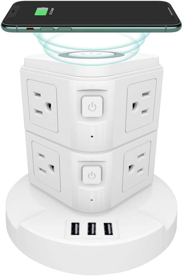 Safety and trust XBA Surge Protector Power Strip OFFer Wireless Charging Tower Station