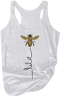 La novedad de las mujeres Let It Be Tank Top Bee Graphic sin mangas Cuello redondo túnica de moda camisetas tops blusa tamaño plus personalidad tops