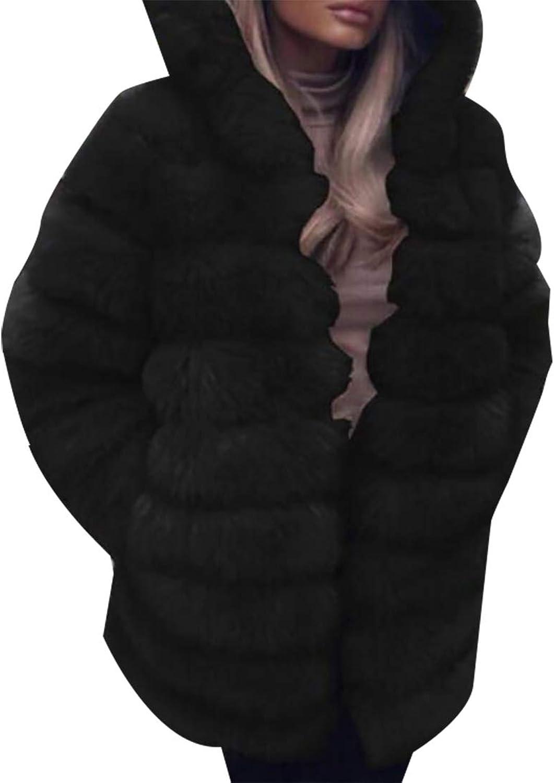 Womens Faux Fur Lined Parkas Overcoat Hooded Warm Winter Coats