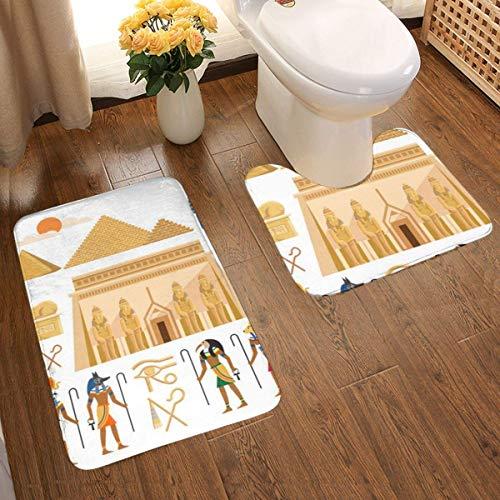 Lucky Home - Juego de alfombrilla de baño con símbolos del viejo Egipto de 2 piezas, diseño 3D individual, muy absorbente, antideslizante, gruesa, alfombrilla de baño