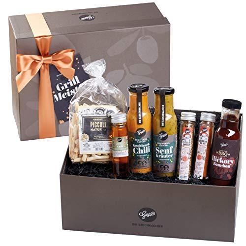 Gepp\'s Feinkost Geschenkbox passend zum Raclette, Fondue oder für Wintergriller I Geschenkidee für Männer I Gefüllt mit Gourmet-Zutaten wie Saucen-Spezialitäten, Chili Öl und Rubs (A0003)