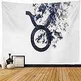 Tapiz Tapices de pared,Leo blanco Signo del zodíaco Cosmos Astrología Tauro Universo de polvo Minimalista Acuario Ciencia Tapiz abstracto para dormitorio-80_x_60_inches