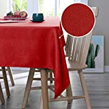 Deconovo Manteles Mesa de Salón Impermeable Moderno Mantel Rectangular 137 x 274 cm Rojo