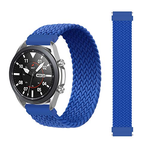YGGFA Correa trenzada de 20 mm y 22 mm para Samsung Galaxy Watch 3/46 mm/42 mm/active 2/Gear S3 para Huawei Watch GT/2/2e/Pro (Color de la correa: azul atlántico, tamaño: XXS (20 mm)