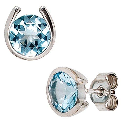 Orecchini gioielli orecchini in oro bianco 585con topazio topazio azzurro donna