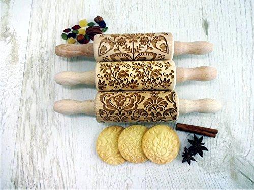 BLUMEN 3-er SET Kinder Nudelhölzer Teigrolle für hausgemachtes Gebäck. Teigrolle mit Blumen. Gravierte Nudelholz. Gravierte Teigroller mit Muster. Engraved rolling pin