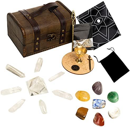 HEXER HAN Healing Crystals Set, Crystals and Healing Stones Kit with 7 Chakra Stones,Tarot Cloth,Sage for Meditation/Spiritual Healing/Smudging