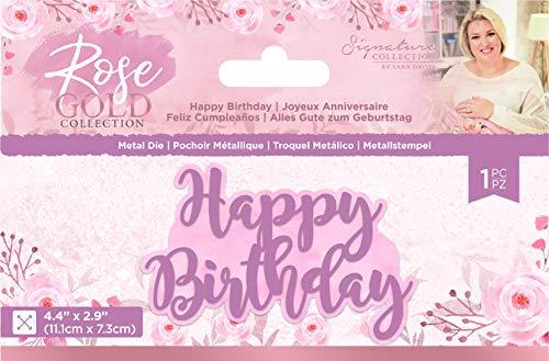 Sara Signature S-RG-MD-HAPP Rose Gold Collection – Metallschablone – Happy Birthday, silber, Einheitsgröße