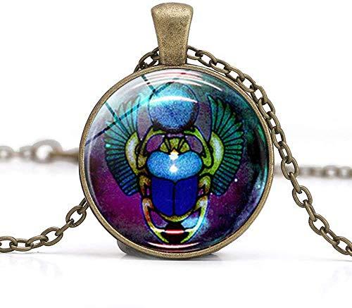 Collar con colgante de escarabajo egipcio, joyería antigua, regalo de renacimiento, eternidad, arte fotográfico, colgante de cristal