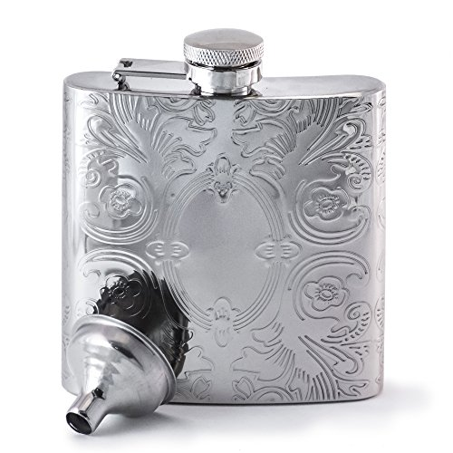 Perfect Pregame Mirrored Calico Pattern Hip Flask - Cool Stainless Steel Liquor Flask for Women and Men - Includes Funnel