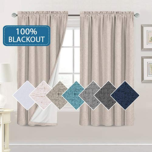 Bedroom 100% Blackout Curtains Textured Linen Look Room Darkening Drapes for Living Room, Thermal Insulated Rod Pocket Curtains Burlap Fabric with White Liner(Natural, 2 Panels, 52x63-Inch)