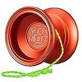 Magic Yoyo Professional Unresponsive Yoyo Y03 - Hertz Orange, Premium Alloy Metal Yo-yo for Beginner and Advanced, Super Smooth Lightweight Yoyo with Long Spin Time + Extra 5 Strings + Holder + Glove